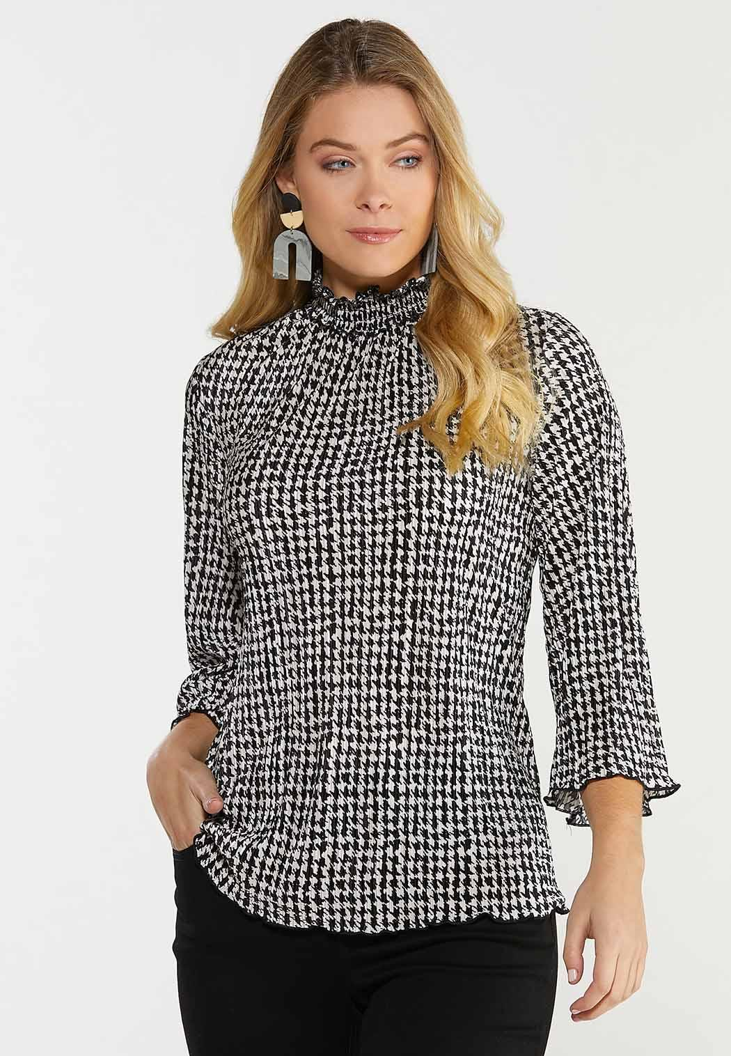 Pleated Mock Neck Houndstooth Top