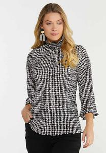 Plus Size Pleated Mock Neck Houndstooth Top