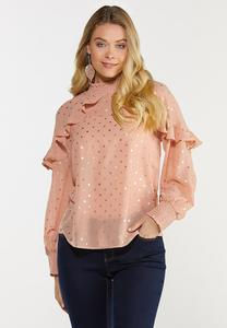 Plus Size Ruffled Golden Dot Top