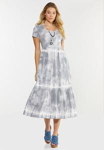 Plus Size Tiered Tie Dye Dress