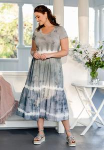Plus Size Tiered Tie Dye Dress
