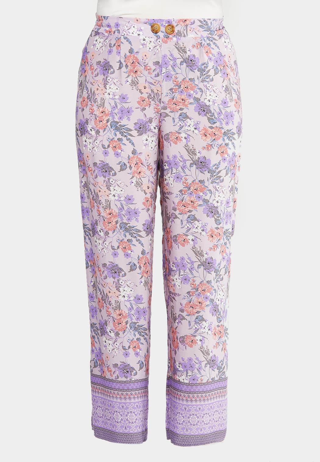 Plus Size Lavender Floral Palazzo Pants