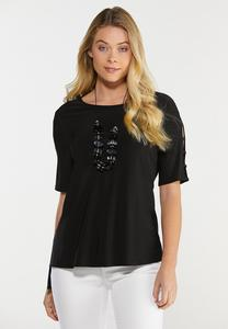 Plus Size Cutout Ladder Sleeve Top