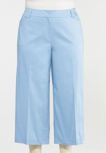 Plus Size Solid Cropped Wide Leg Pants