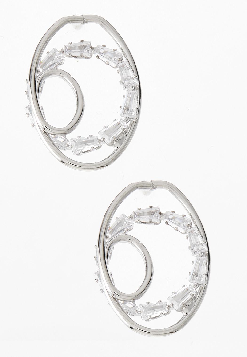 Beaded Metal Loop Button Earrings