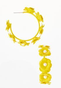 Yellow Flower Hoop Earrings