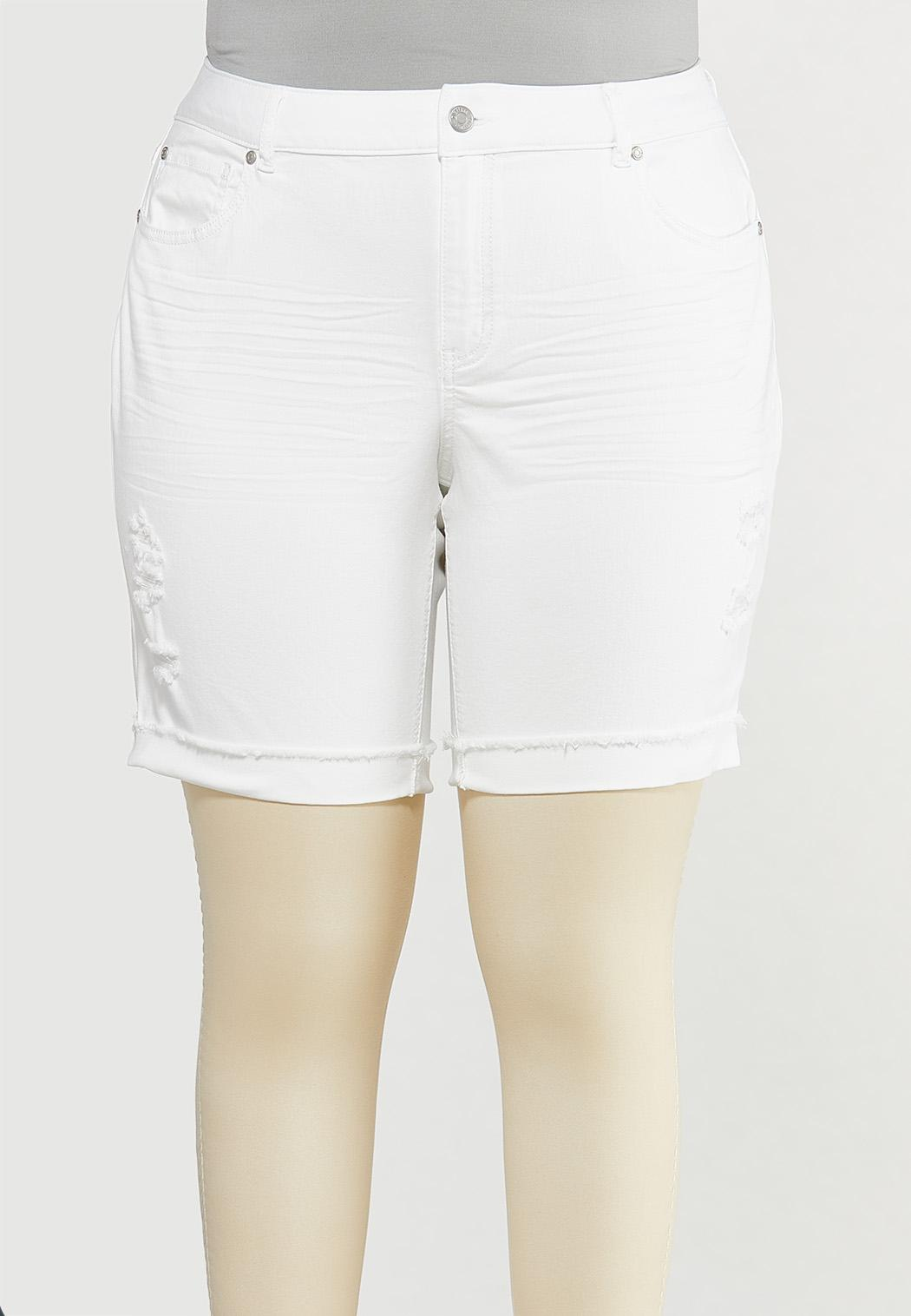 Plus Size White Distressed Denim Shorts