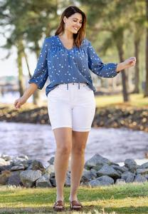 Plus Size White Distressed Denim Shorts