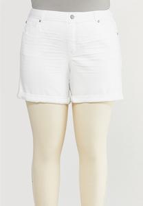 Plus Size White Denim Shorts