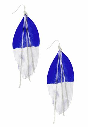 Blue Feather Chain Earrings