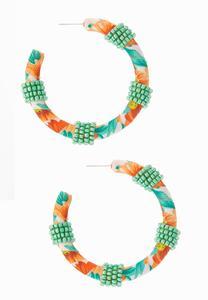 Fabric Seed Bead Hoop Earrings