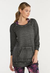 Plus Size Solid Brushed Color Sweatshirt