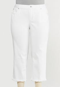 Plus Size Frayed High-Rise Jeans
