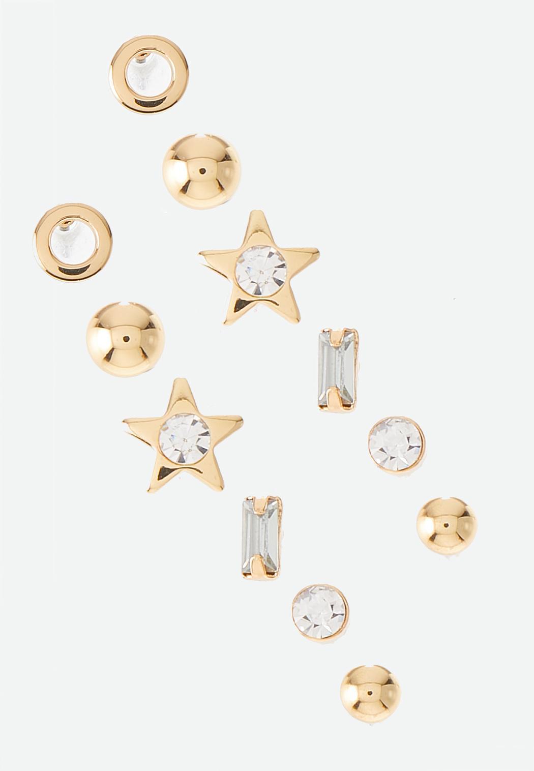Mixed Gold Stud Earring Set