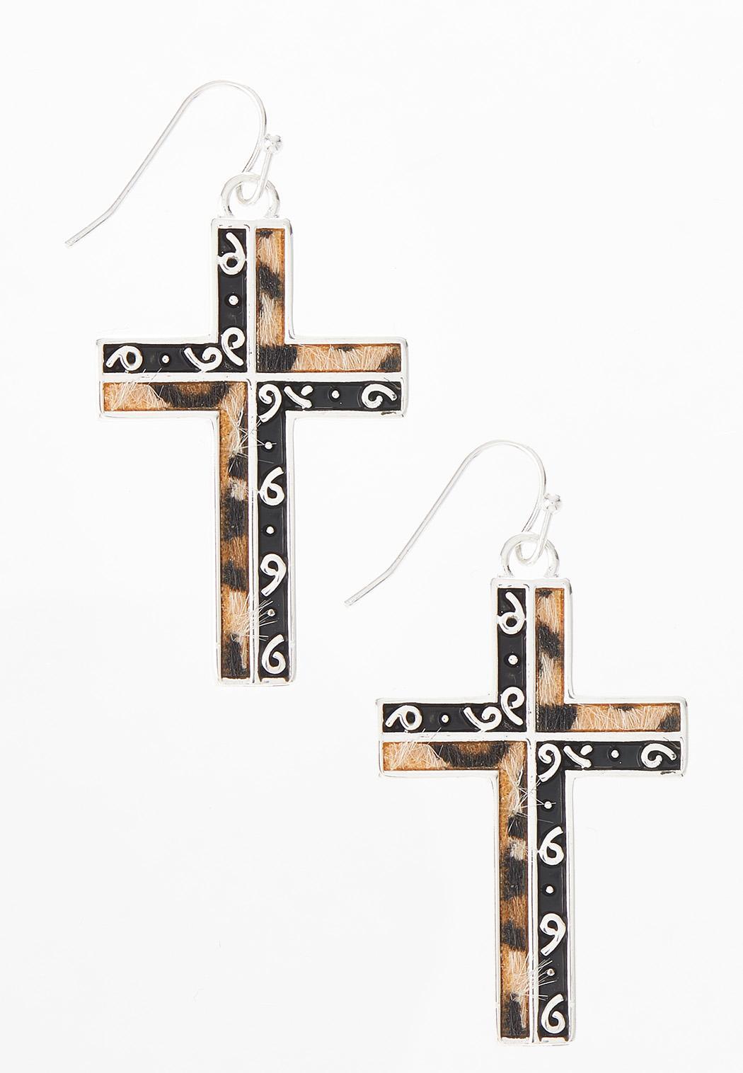 Leopard Metal Swirl Cross Earrings
