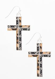 Leopard Metal Swirl Cross Earrings