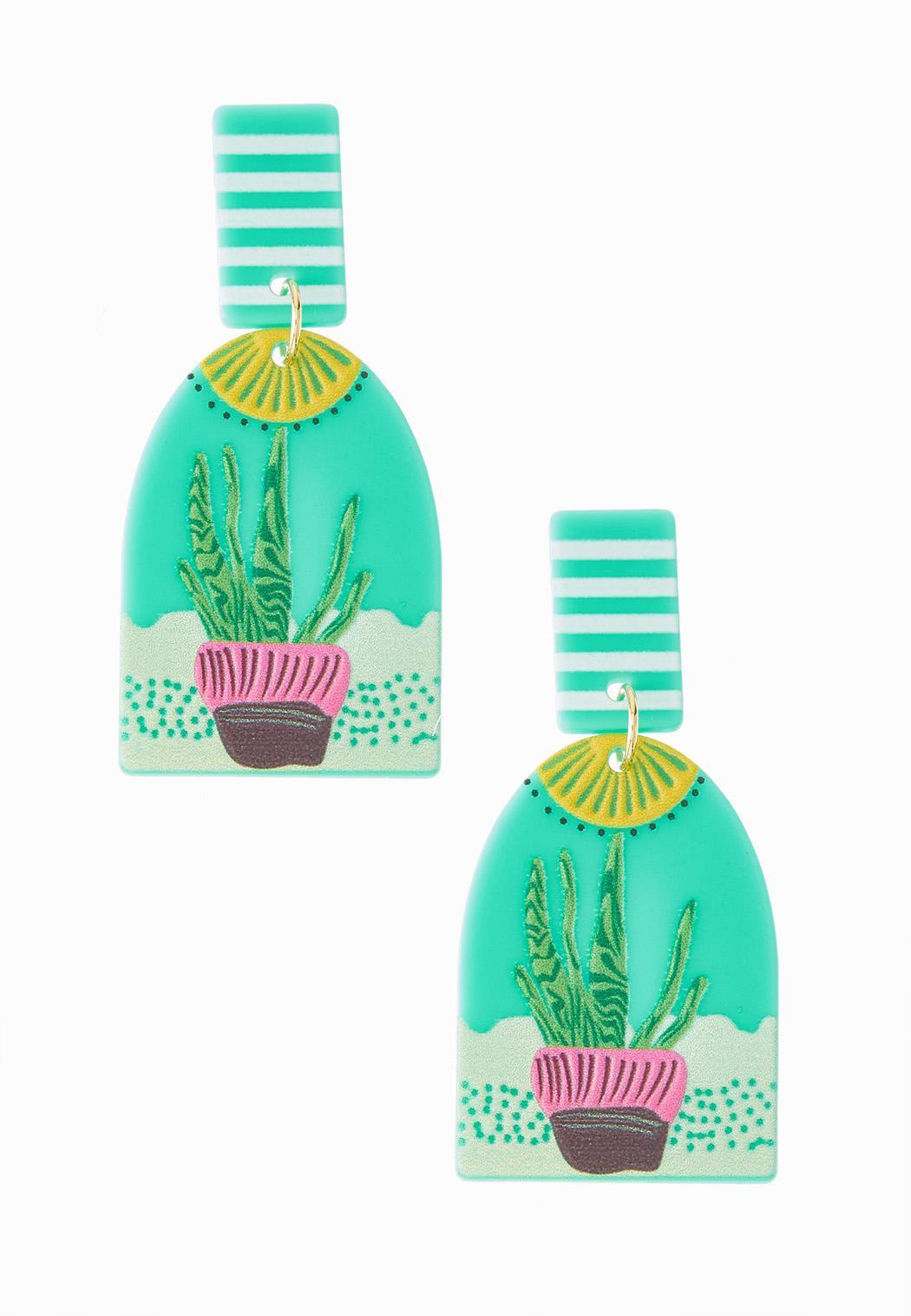 Cactus Plant Clay Earrings