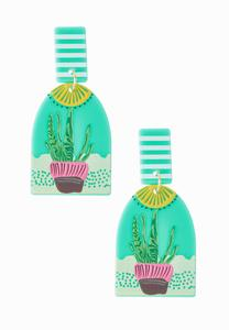 Cactus Plant Clay Earrings
