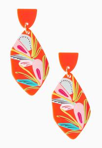 Tropical Floral Clay Earrings