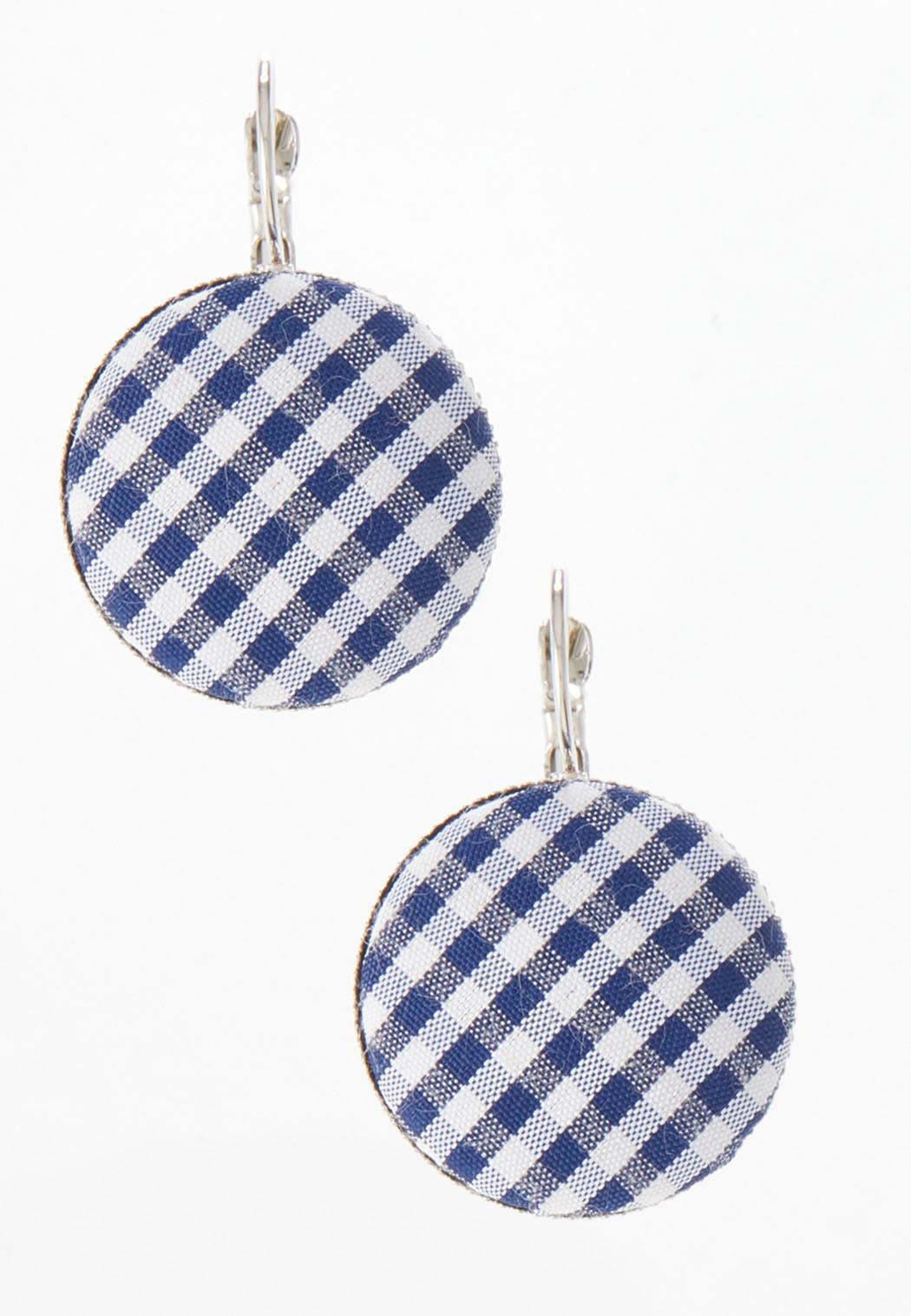 Gingham Circle Earrings