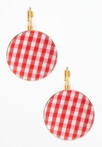 Gingham Circle Earrings