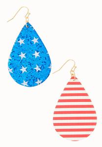 Glitter Patriotic Earrings