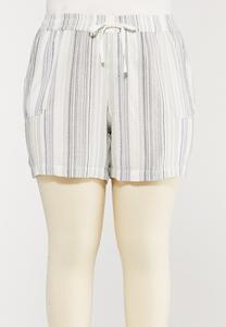 Plus Size Textured Linen Shorts