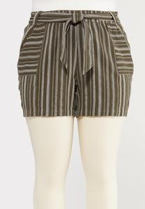 Plus Size Olive Stripe Linen Shorts