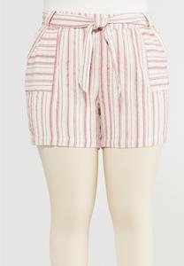 Plus Size Striped Linen Shorts