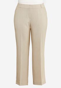 Plus Size Tan Trouser Pants