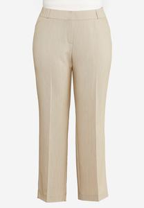 Plus Size Tan Trouser Pants