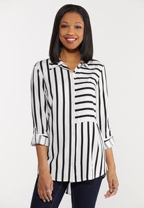 Plus Size Modern Stripe High-Low Top