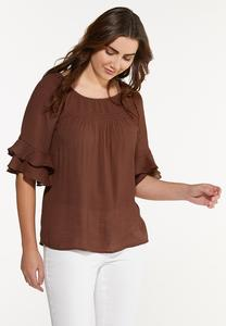 Plus Size Ruffled Smocked Poet Top