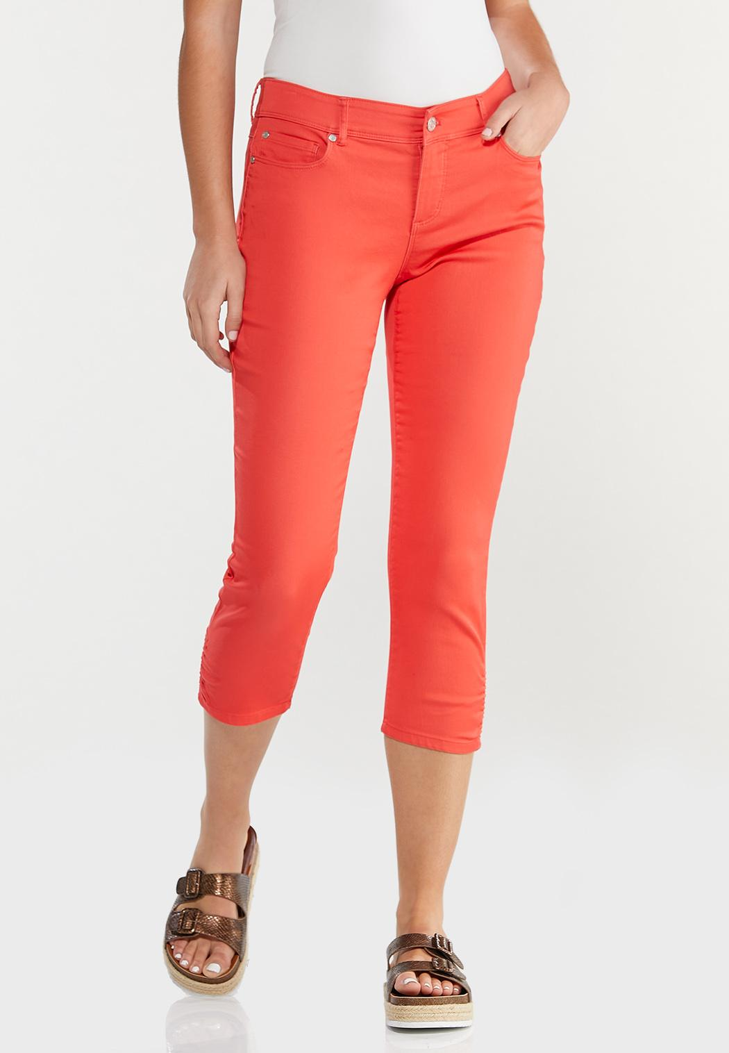 Cropped Ruched Colored Jeans