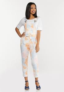 Cropped Tie Dye Overalls