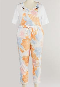 Plus Size Cropped Tie Dye Overalls
