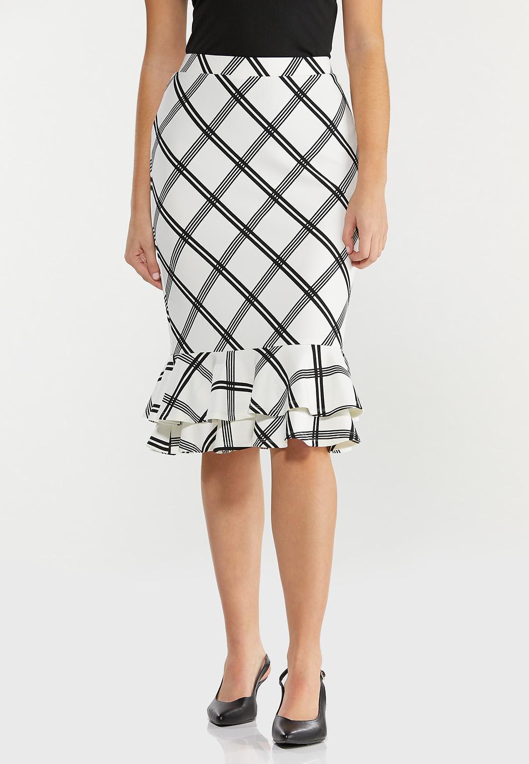 Plus Size Plaid Double Ruffle Skirt