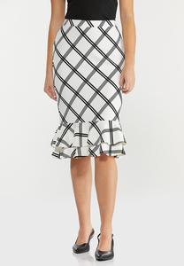 Plus Size Plaid Double Ruffle Skirt