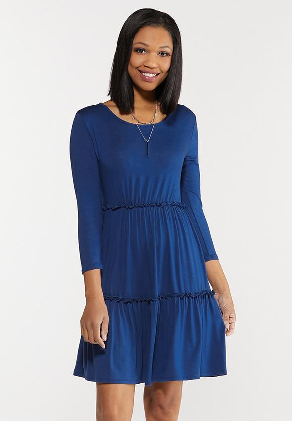 Blue Ruffled Babydoll Dress