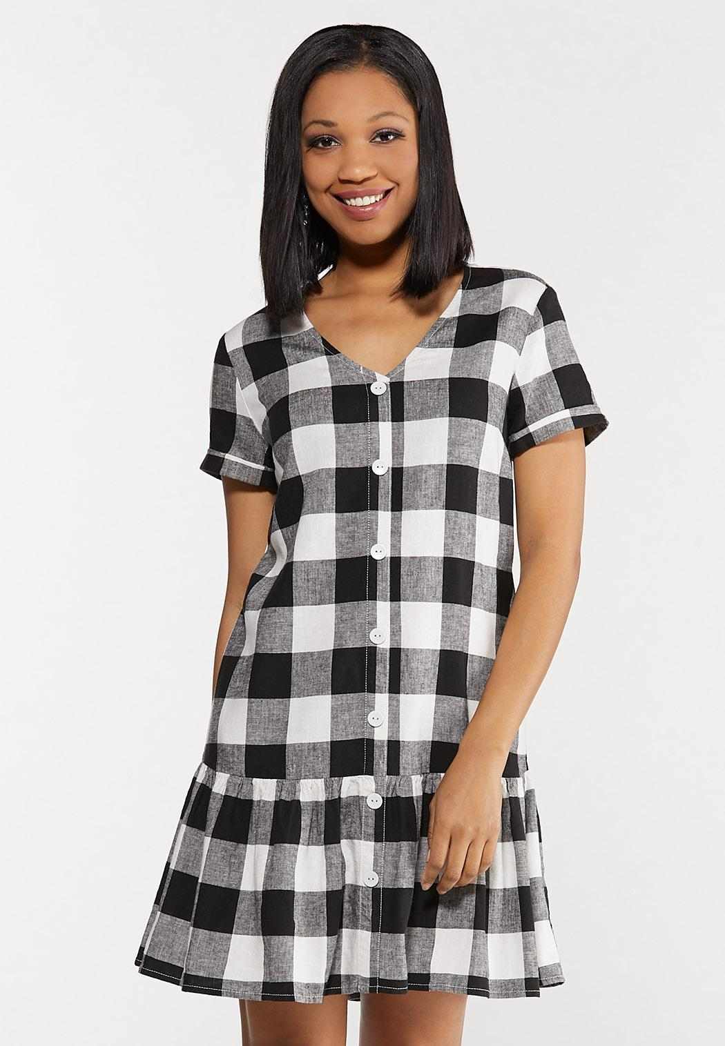 Plus Size Black And White Gingham Dress