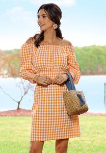 Plus Size Creamsicle Gingham Dress