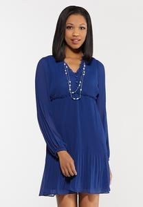 Plus Size Pleated Babydoll Dress