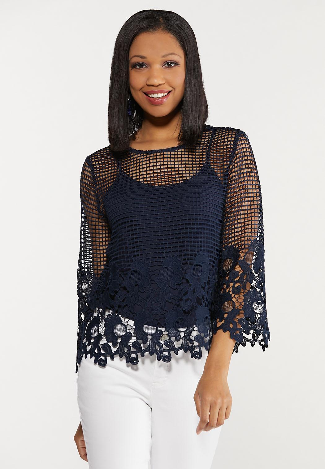 Plus Size Floral Crochet Top