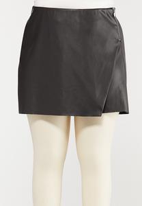 Plus Size Black Faux Leather Skort