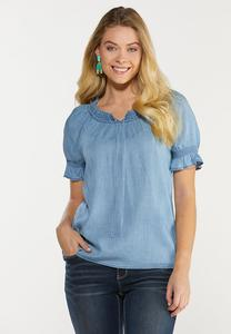 Plus Size Ruched Chambray Top