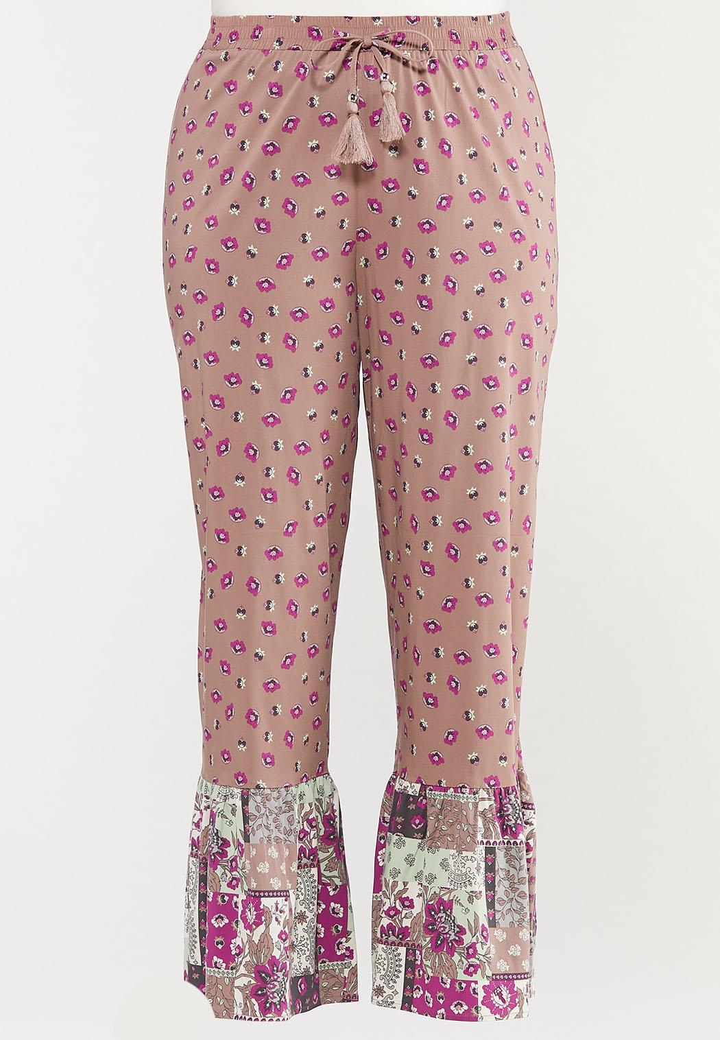 Plus Size Floral Patchwork Pants