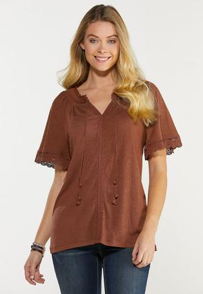 Plus Size Chocolate Lace Trim Poet Top