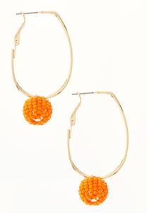Seed Bead Ball Hoop Earrings