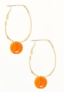 Seed Bead Ball Hoop Earrings
