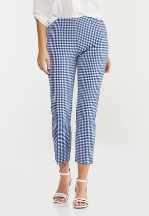 Blue Gingham Ankle Pants